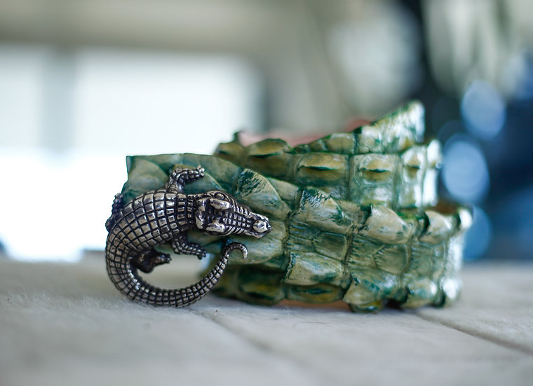 Bamboo Green Croc Belt with Sterling Silver Mina Wild Buckle