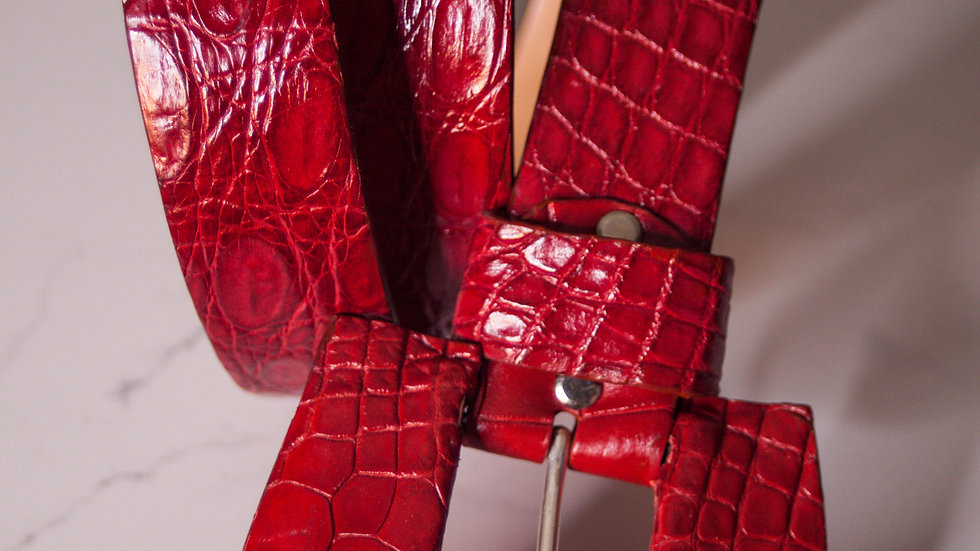 Lipstick Red Alligator Belt & MW Signature Wide Buckle