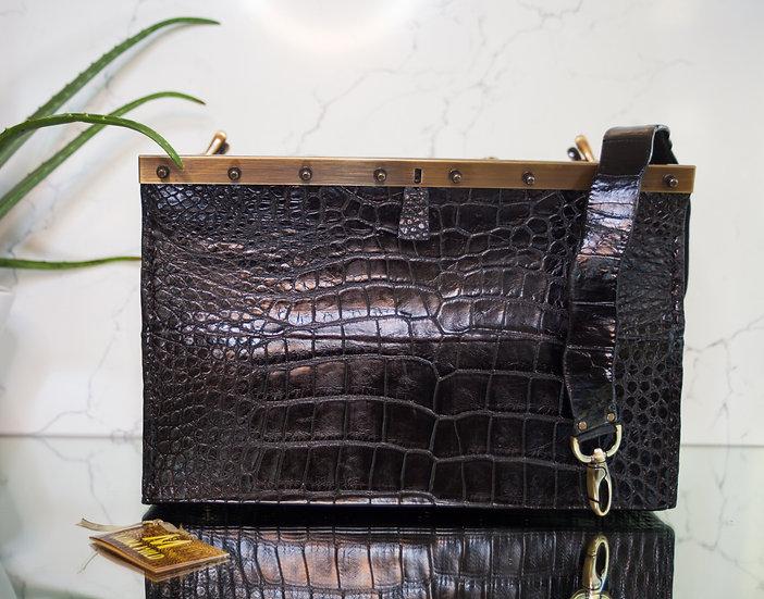 Black Alligator Beauty Tool Bag