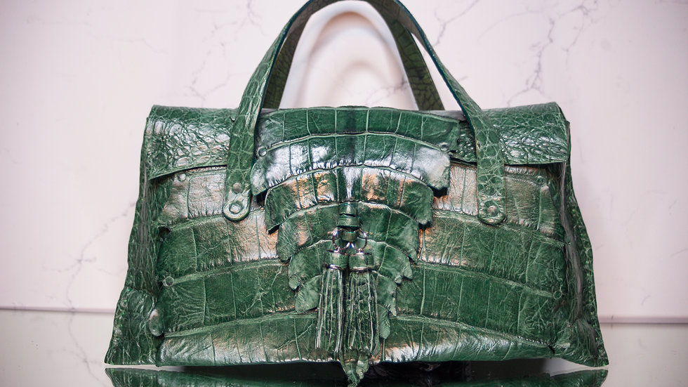 Large Emerald Green Alligator Handbag