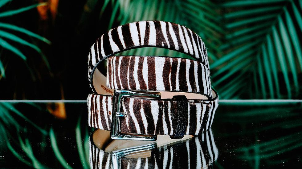 Hair-on Zebra Pattern Belt