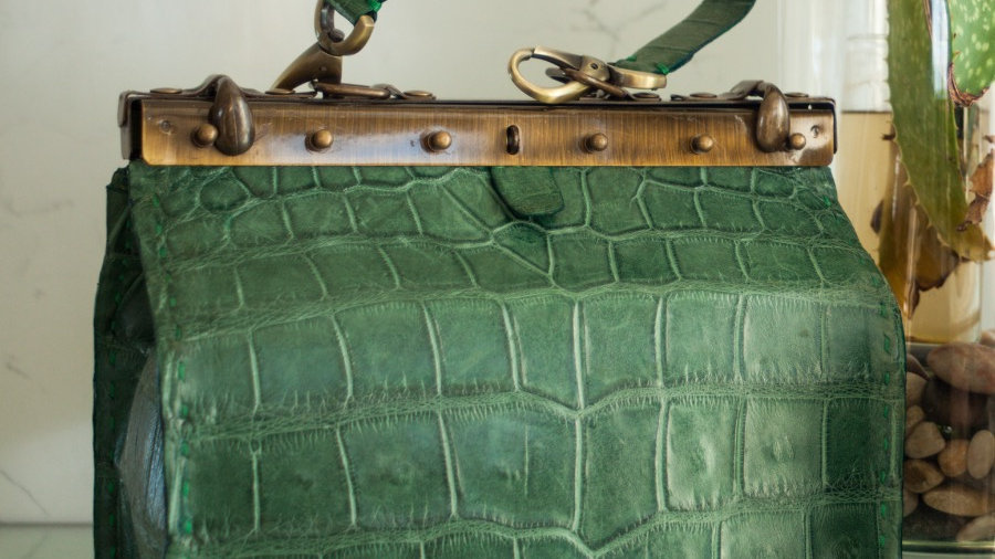 Emerald Green Alligator Beauty Tool Bag (Medium)