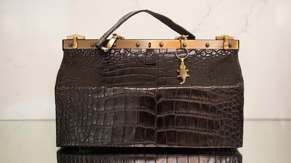 Large Black Alligator Beauty Tool Bag