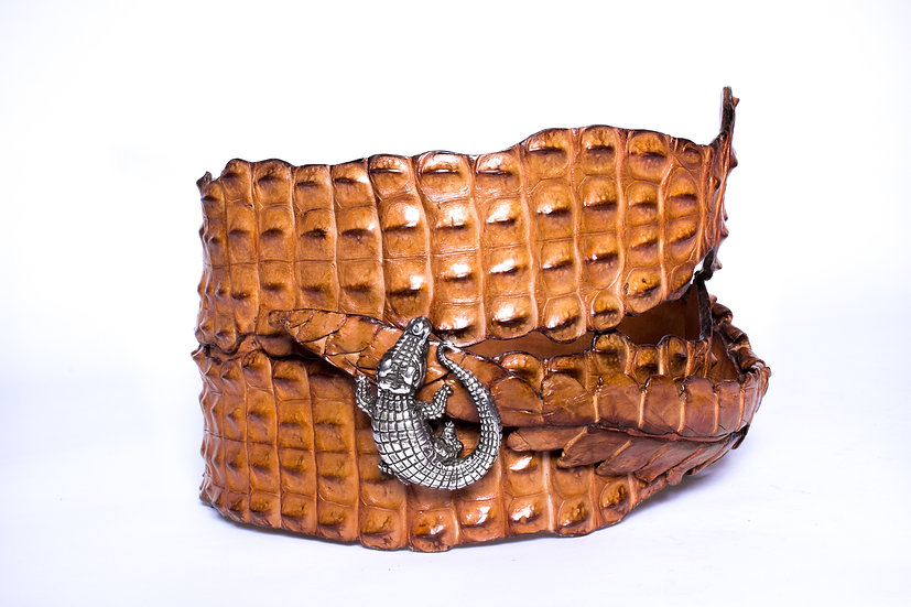 Croc Tan Belt & Sterling Silver Mina Wild Buckle