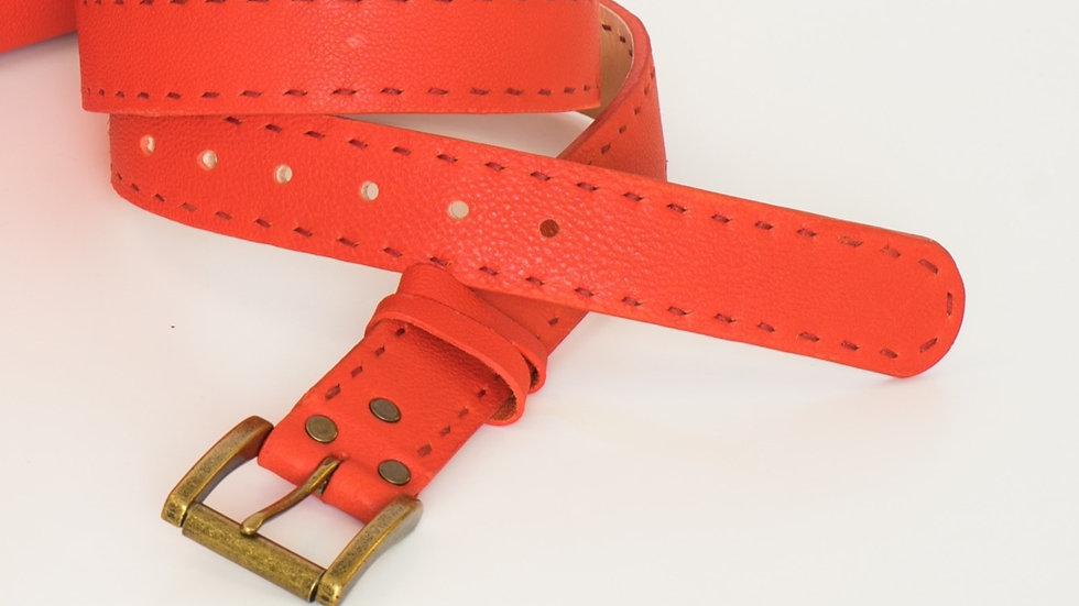 Flamingo Red Leather Belt