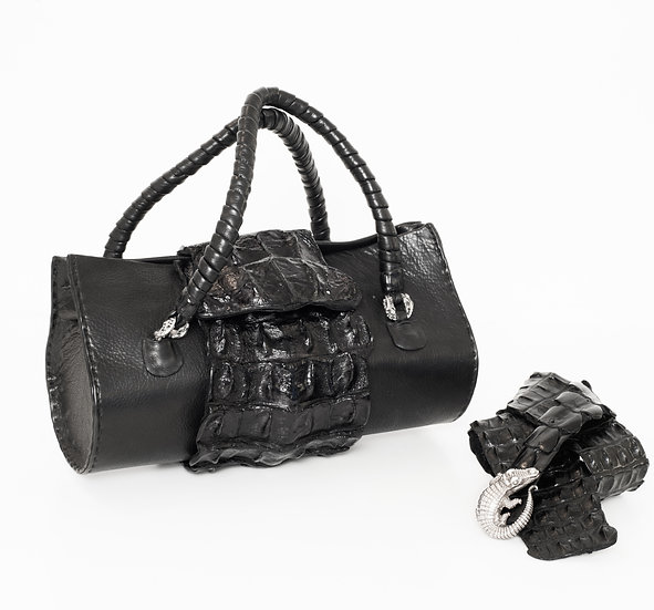 African Nile Croc Bag & Crocodile Belt With Sterling Silver Buckle
