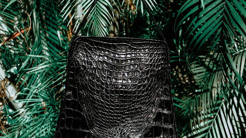 Jet Black Alligator Tote Backpack