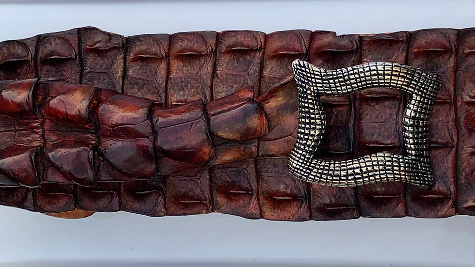 Cinnamon Brown Crocodile Belt with Limited Edition Inspiration Buckle
