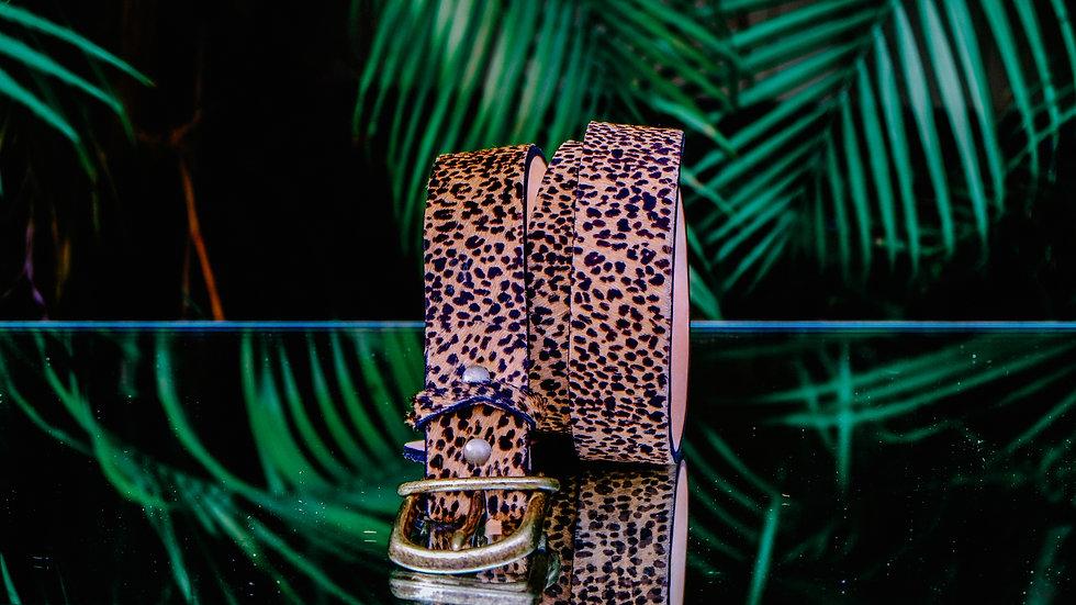 Hair-on Leopard Print Belt
