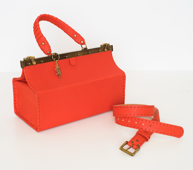 Red Leather Bag & Matching Belt
