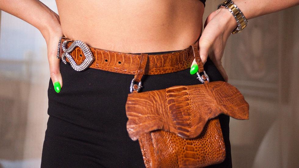 Caramel Ostrich Adjustable Bag & Belt