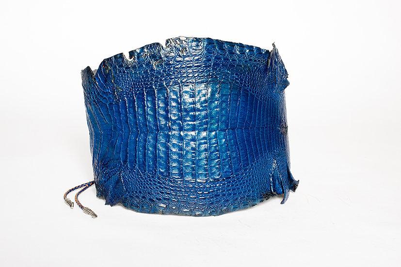 Blue Cayman Croc Wide Belt