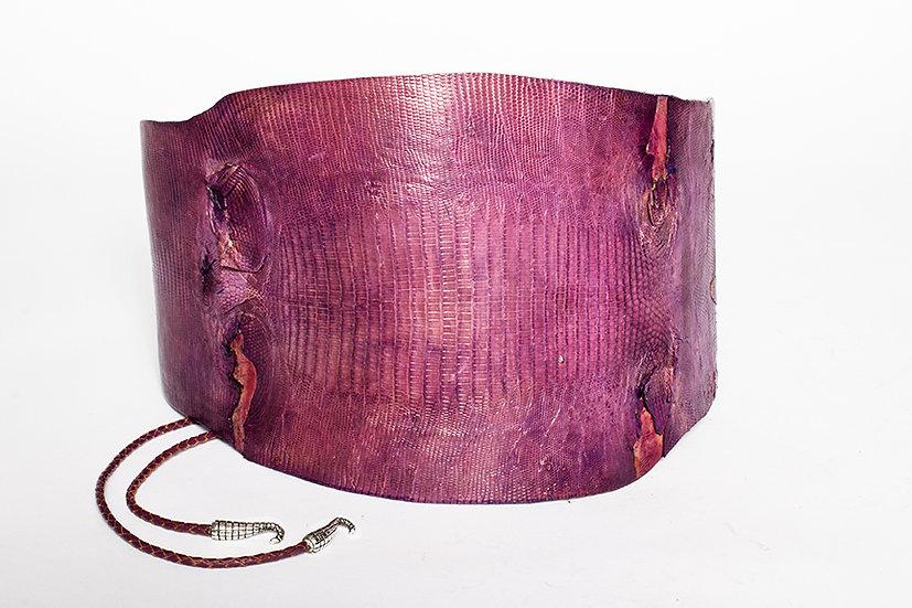 Purple Cayman Croc Wide Belt