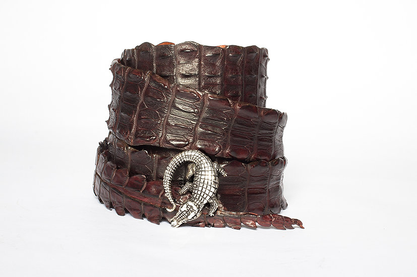 Chocolate Brown Crocodile Belt with Sterling Silver Mina Wild Buckle