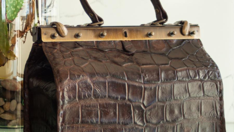 Brown Alligator Beauty Tool Bag (Medium)