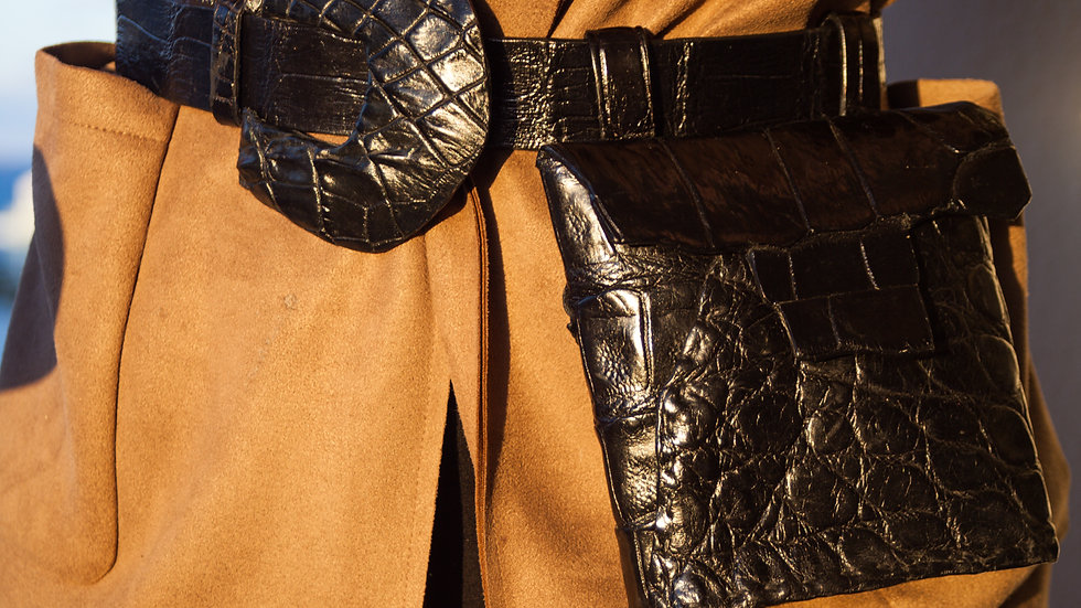 Jet Black Alligator Waist Bag & Belt