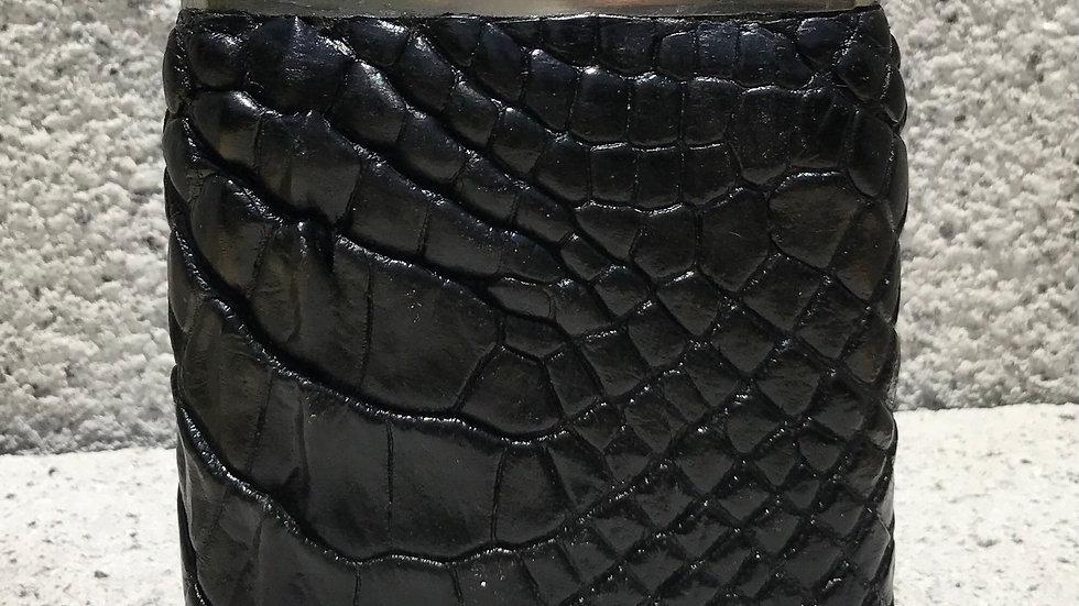 Jet Black Alligator Flask
