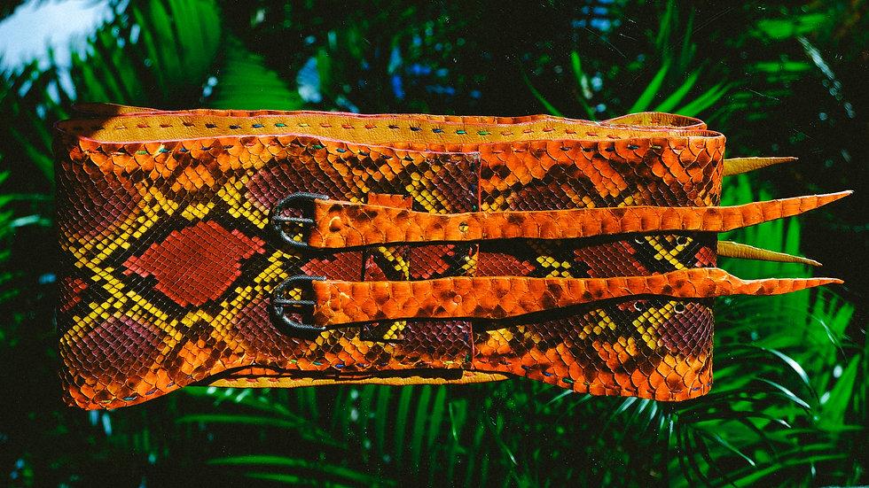 Orange Blend Python Belt - Wide