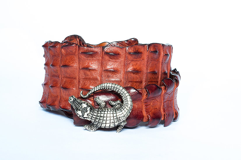 Terra-cotta Crocodile Belt with Sterling Silver Mina Wild Buckle