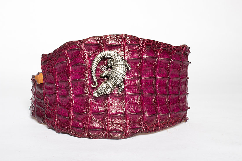 Purple Crocodile Belt with Sterling Silver Mina Wild Buckle