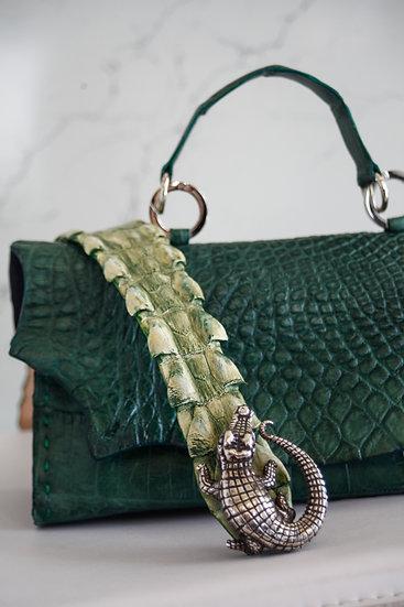 Emerald Green Alligator Purse & Bamboo Green Croc Belt