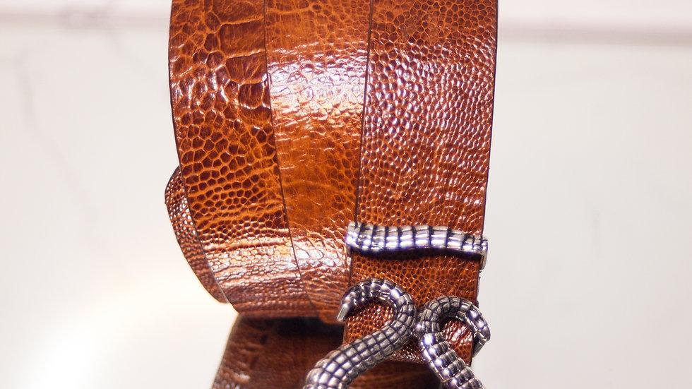 Caramel Ostrich Belt & Mina Wild Signature Buckle