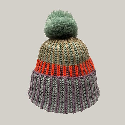 Bonnet tricoté avec pompon Violet/menthe