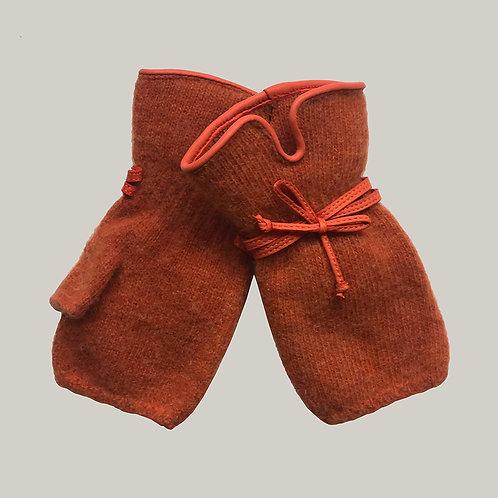 Mitaines avec décoration en cuir terracotta/orange
