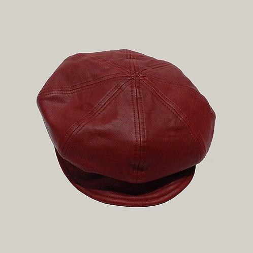 Casquette gavroche en cuir Rouge
