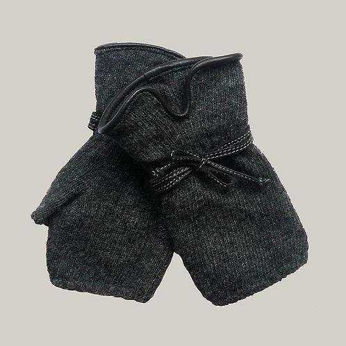 Mitaines avec décoration en cuir gris anthracite/noir