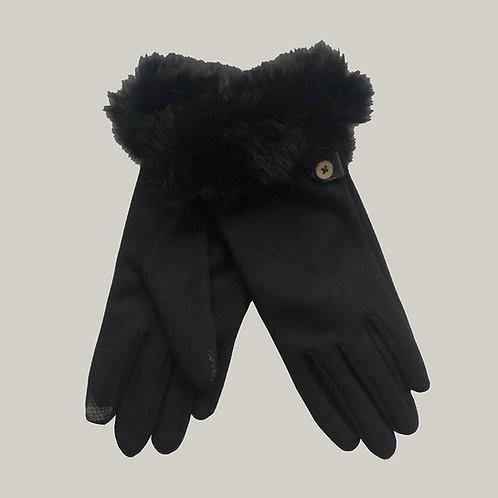 Gants jersey avec fourrure Noir