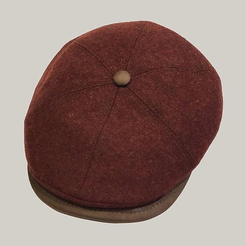Casquette 6 côtes, visière imitation cuir Bordeaux