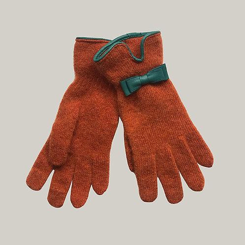 Gants avec décoration en cuir terracotta/turquoise