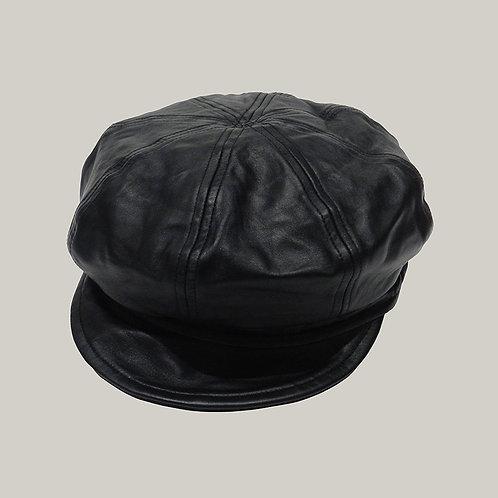 Casquette gavroche en cuir Noir