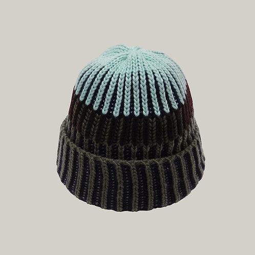 Bonnet tricoté Olive/marine