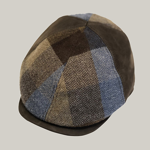 Casquette 6 côtes, visière imitation cuir Marron-bleu