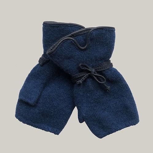 Mitaines avec décoration en cuir bleu/bleu marine
