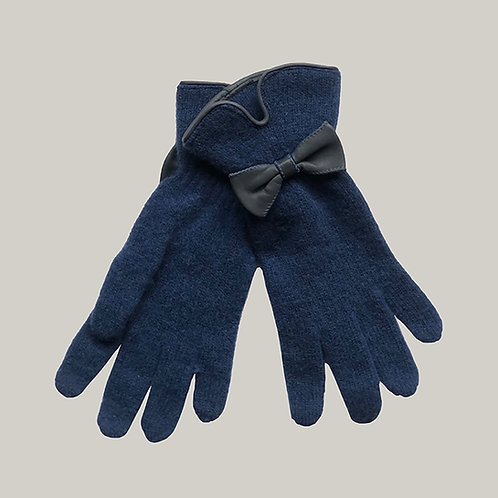 Gants avec décoration en cuir bleu/bleu