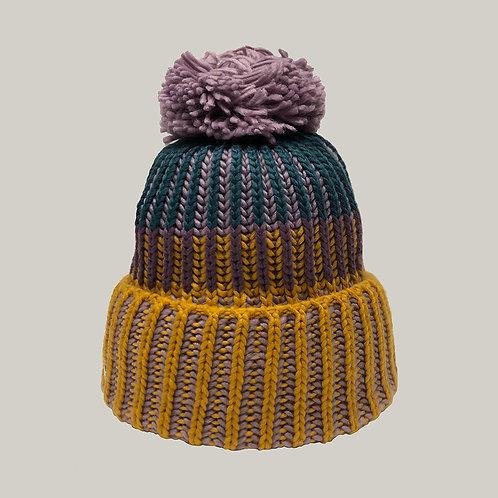 Bonnet tricoté avec pompon Ocre/violet