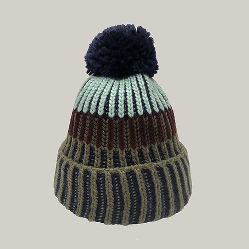 Bonnet tricoté avec pompon Olive/marine