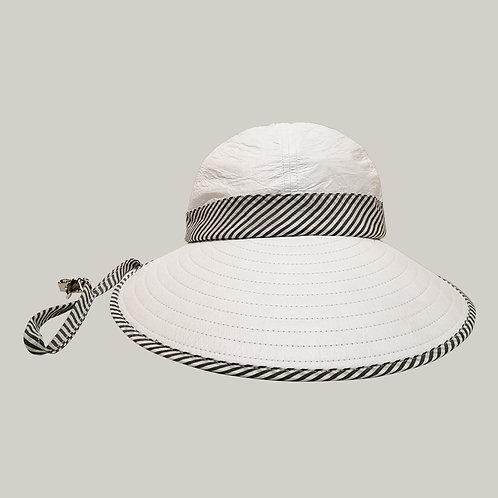 Bauloise Ext. blanc avec ruban rayures grises ; lien anti-vent avec petite pince