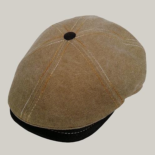 Casquette 6 côtes Beige, visière en cuir marron