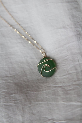 Green Signature Gold Wave Necklace