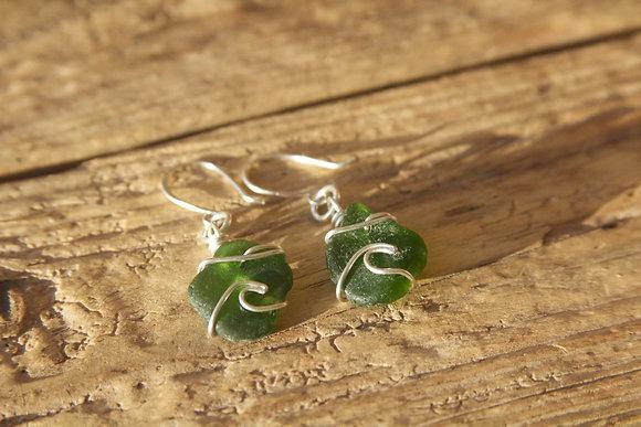Dark Green Wave Earrings