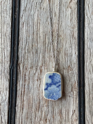 Blue Double Sided Pottery Wrap Necklace