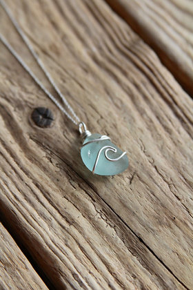 Light teal Signature Wave Necklace