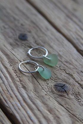 Light Green Sea Glass Huggies
