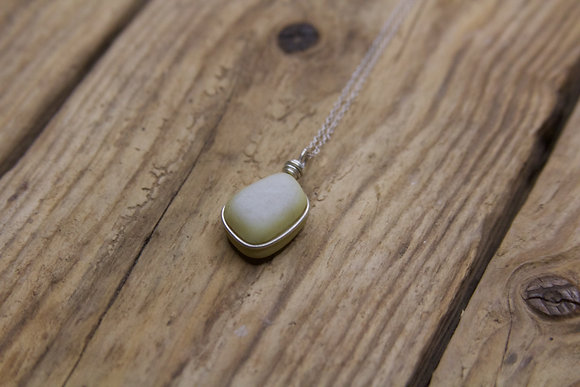 Yellow Milk Sea Glass Wrap Necklace