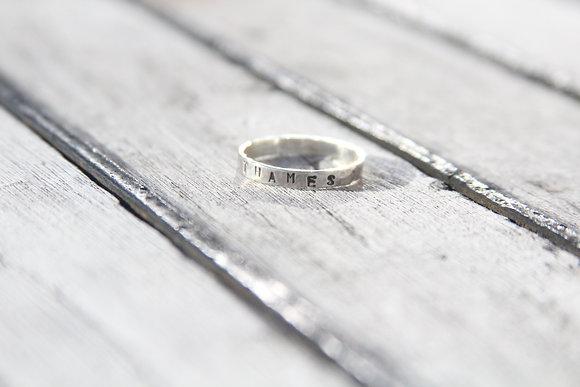 Custom Hammered Band River Ring