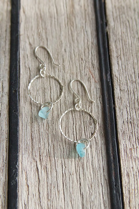 Turquoise Textured Small Hoop Earrings
